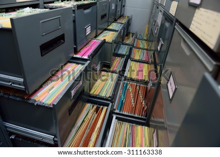 Archive files,office document in load. - stock photo