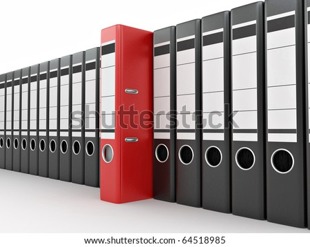 Archive. Many folders on white isolated background. 3d - stock photo