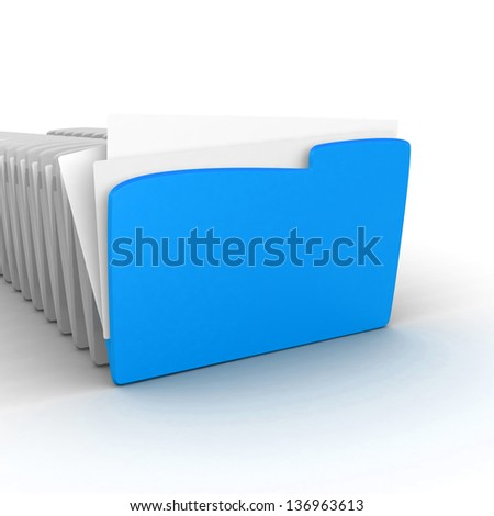 Archive. Many folders on white isolated background.  Data, folder . computer folder on a white background. 3d illustration. Business concept and security concept