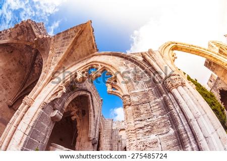 Archs of Bellapais Abbey. Kyrenia District - stock photo