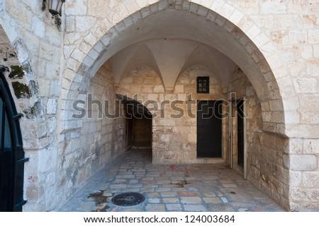 Archway in the Armenian Quarter of Jerusalem - stock photo