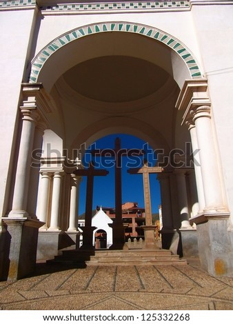 archway of a church in copacabana in Bolivia - stock photo