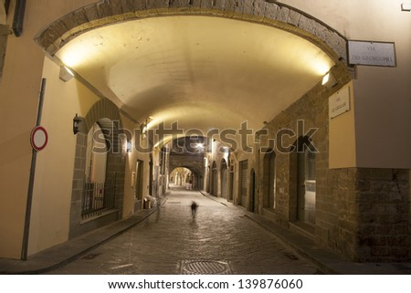 Archway of Street off Via dei Georgofili Street, Florence, Italy Illuminated at Night