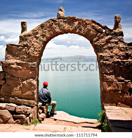 Archway on Taquile Island, Lake Titicaca Peru - stock photo