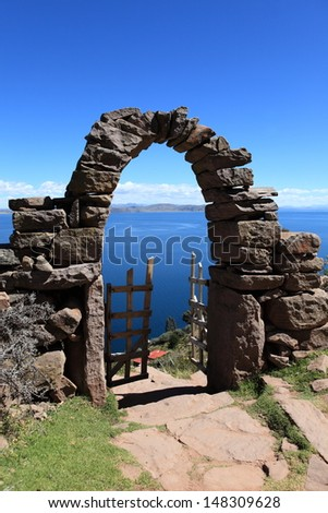 Archways at Island Taquile Lake Titicaca - stock photo