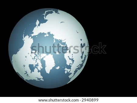 Arctic. Accurate. Mapped onto a globe. Includes greenland, iceland, baffin island, other islands - stock photo