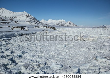 Arctic ice in the Greenland Sea - stock photo
