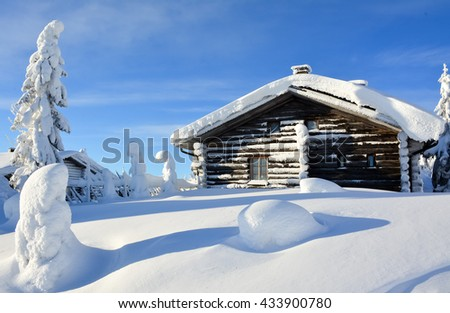 Arctic landscape on snowy mountain in Lapland Finland - stock photo