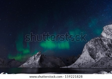 Arctic night at lofoten island - stock photo