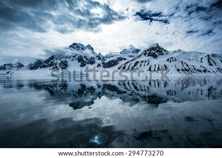 Arctic spring in south Spitsbergen - stock photo
