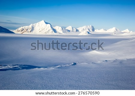 Arctic winter in south Spitsbergen - stock photo
