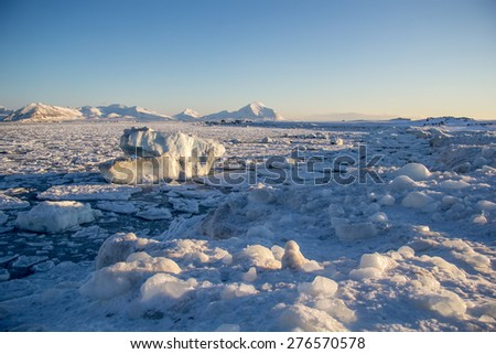 Arctic winter in southern Spitsbergen - stock photo