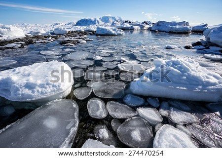 Arctic winter landscape - frozen fjord - stock photo
