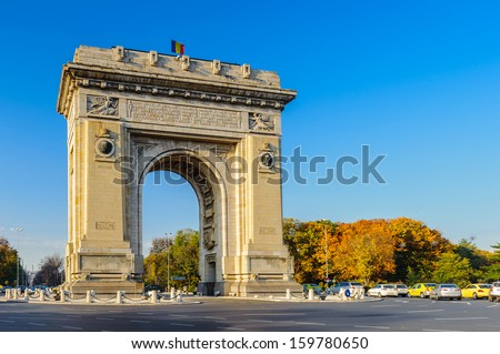 Arcul de Triumf, a triumphal arch, the northern part of Bucharest, on the Kiseleff Road - stock photo
