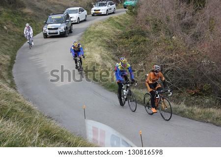 "ARDECHE, FRANCE - FEB 24: Jon ABERASTURI IZAGA riding ""LES BOUCLES DU SUD ARDECHE"" UCI Europ Tour. Matthieu Drujon won the race on February 24, 2013 in Sampzon Rock, Ardeche, France. - stock photo"