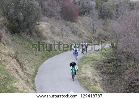 "ARDECHE, FRANCE - FEB 24: Julien El Fares leading a group of 7 in UCI Europ TOUR ""LES BOUCLES DU SUD ARDECHE"" race. Matthieu Drujon won the race on February 24, 2013 in Sampzon Rock, Ardeche, France."