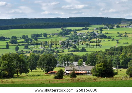 Ardennes Landscape near Malmedy in the province of Liege, Belgium - stock photo