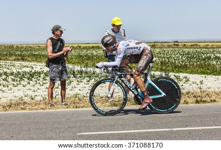 ARDEVON,FRANCE-JUL 10:The French cyclist Christophe Riblon from Ag2r-La Mondiale Team cycling during the stage 11 (time trial Avranches -Mont Saint Michel) of Le Tour de France on July 10, 2013