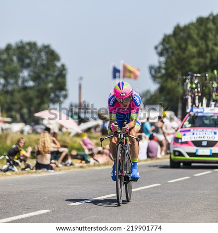ARDEVON,FRANCE-JUL 10:The Italian cyclist Damiano Cunego from Lampre-Merida Team cycling during the stage 11(time trial Avranches -Mont Saint Michel) of Le Tour de France on July 10, 2013 - stock photo
