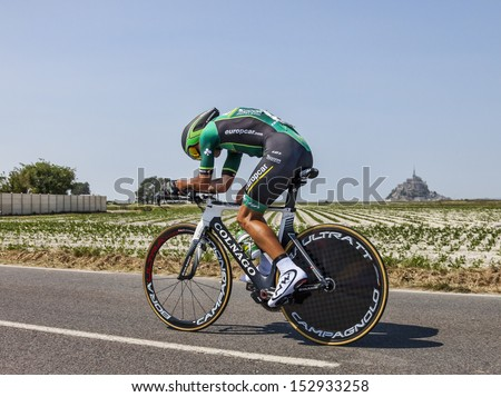 ARDEVON,FRANCE-JUL 10: The Italian cyclist Davide Malacarne from Team Europcar cycling during the stage 11 (time trial Avranches -Mont Saint Michel) of Le Tour de France on July 10, 2013 - stock photo