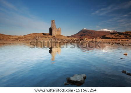 Ardvreck Castle reflections in Loch Assynt, Scotland at Sunrise - stock photo