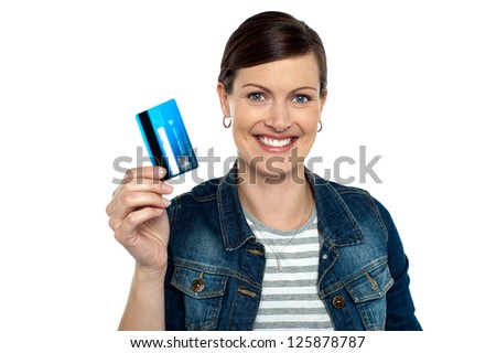 Are you ready to shop? Shopaholic woman showing cash card.