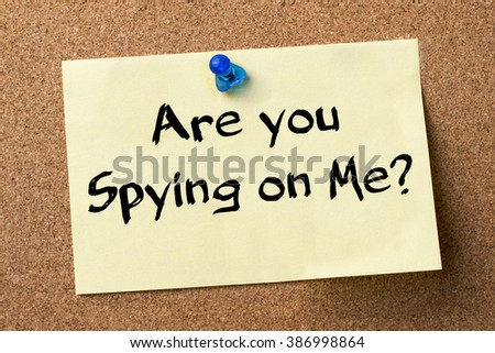 Are you Spying on Me? - adhesive label pinned on bulletin board - horizontal image - stock photo