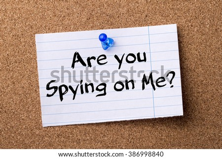 Are you Spying on Me? - teared note paper pinned on bulletin board - horizontal image - stock photo