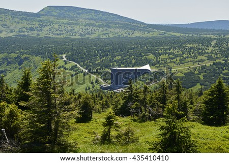 Area around Labska bouda mountain hut and Wavel mountain hut on the top of Krkonose mountains in Czech republic