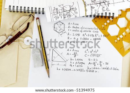 Area calculation of circle and triangle - many uses in mathematics and trigonometry. - stock photo