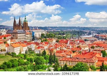 Area Lesser Town of Prague, near the church Saint Vitus, Ventseslaus and Adalbert. Czech Republic. - stock photo