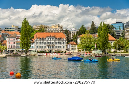 Area near the lake in Lausanne, Switzerland - stock photo