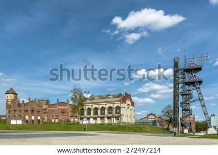Area of former hard coal mine in Katowice, Silesia region, Poland. - stock photo