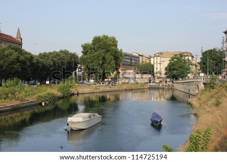 Area of Navigli April, canal waterway in Milan, Italy - stock photo
