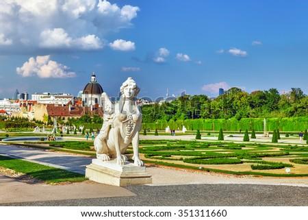Area of the park-garden complex Belvedere. Foreground focus. Vienna. Austria. - stock photo