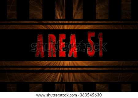Area 51 word on hot sparks from spinning steel wool in the background with Gaussian blur effect,  - stock photo