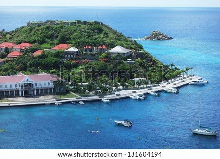 Areal view at Gustavia harbor, St. Barths, French West Indies.  St. Barths is considered a playground of the rich and famous.
