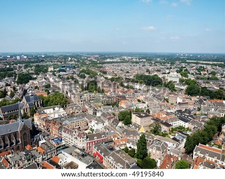Areal view of  Utrecht city  Dom tower - stock photo