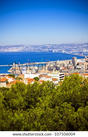 areal view on Marseille from mountian in city where is a church Notre Dame De La Garda, France - stock photo