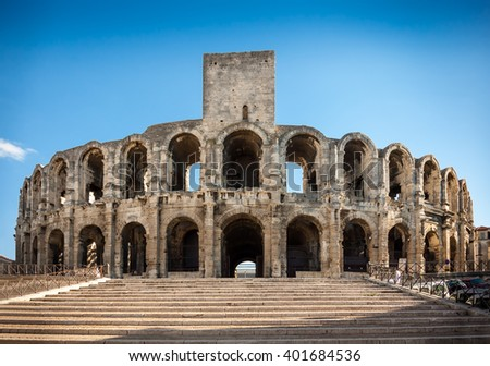 arena roman amphitheatre arles provence france stock photo royalty free 401684536 shutterstock. Black Bedroom Furniture Sets. Home Design Ideas