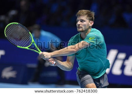 Arena O2, London, UK – November 18, 2017: Professional Tennis player David Goffin from Belgium in action during the Nitto ATP semi-finals match in which he won against Roger Federer from Swiss