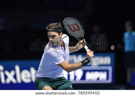Arena O2, London, UK – November 18, 2017: - Switzerland's tennis player Roger Federer playing semi-final match against Belgium's David Goffin during the Semi Final Nitto ATP Finals 2017 in O2 indoor A