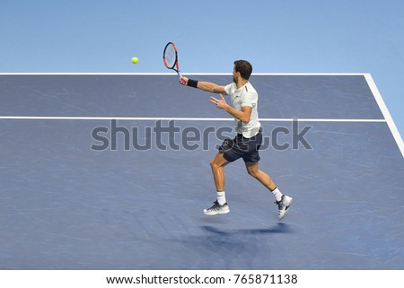 Arena O2, London, UK – November 19, 2017: Tennis player Grigor Dimitrov from Bulgaria in his victorious match against David Goffin from Belgium during the final match of the Nitto ATP Finals 2017
