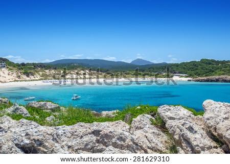 Arenal de Son Saura beach at Menorca island, Spain. - stock photo