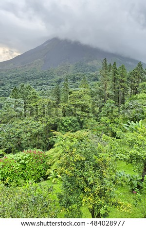 Arenal Volcano in clouds, Costa Rica