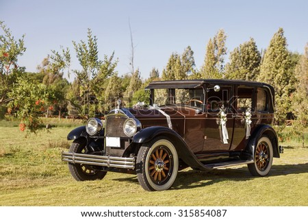 AREQUIPA, PERU  JUNE 6, 2015: Vintage wedding car decorated with flowers on a grass