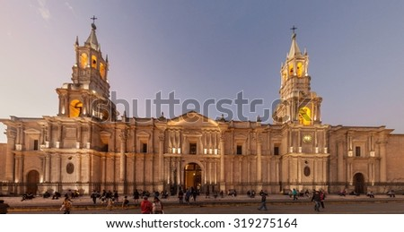 AREQUIPA, PERU - MAY 26, 2015: Cathedral at Plaza de Armas square in Arequipa, Peru.