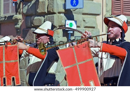 AREZZO, ITALY - AUGUST 26:Giostra del Saracino parade in medieval costumes in the town's historic center August 26 2016 in Arezzo Italy