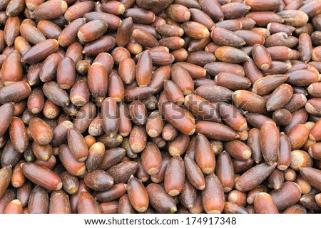 Argan nuts for sale on a market in Morocco - stock photo