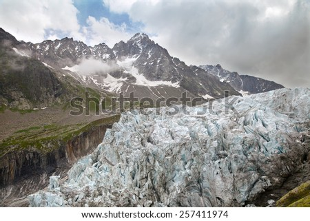 Argentiere Glacier in the Chamonix valley in Haute-Savoie departement, south-eastern France - stock photo